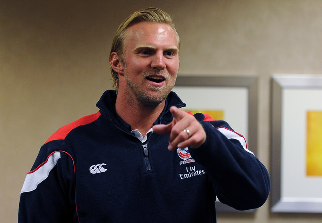 U.S. rugby coach Matt Hawkins, shown Wednesday at the Monte Carlo, grew up in South Africa before moving to America at 18 and obtaining dual citizenship. (David Becker/Las Vegas Review-Journal)