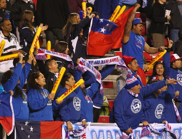 Samoa fans cheer as the team defeats England 22-19 on the first day of the USA Sevens rugby tournament at Sam Boyd Stadium in Las Vegas on Friday, Jan. 24, 2014. (Chase Stevens/Las Vegas Review-Jo ...