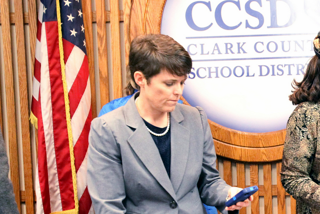 Erin Cranor, who is under state investigation for allegations of using taxpayer resources to campaign in an election, was elected president of the Clark County School Board on Wednesday. (K.M. Can ...