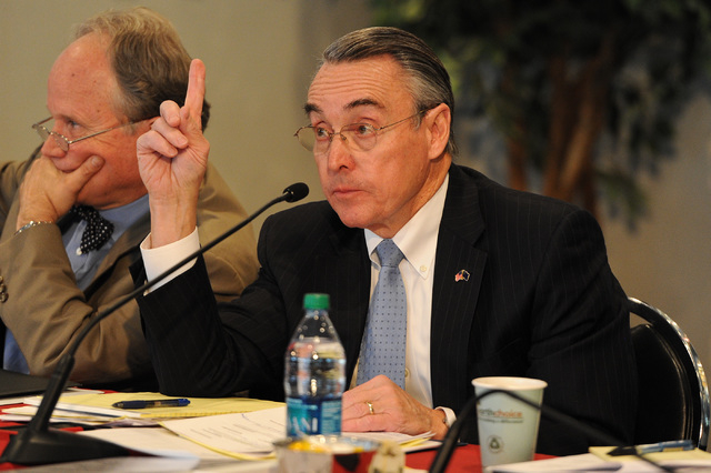 Don Snyder, Executive Dean for Strategic Development, is seen at a UNLV stadium board meeting on campus at the Si Redd Room in Las Vegas Monday, Oct. 7, 2013. (David Cleveland/Las Vegas Review-Jou ...