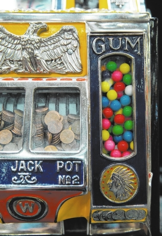 A 1 cent Watling Treasury slot machine is one of 1,200 items up for auction at Victorian Casino Antiques, located at 4520 Arville St., Thursday, Jan. 2, 2014. The 35-year-old business is hosting i ...