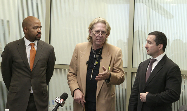Attorneys James Williams, Matthew Callister and Anthony Irpino, left to right, explain the update to their class action suit by people exposed to tuberculosis at Summerlin Hospital during a press  ...