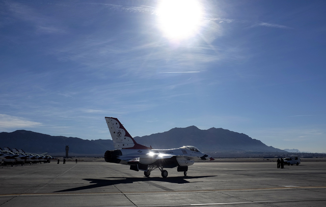 Thunderbird planes taxi to the runway before taking off at Nellis Air Force Base in Las Vegas Friday, Jan. 10, 2014. Their Air Force demonstration team had their season cut short last year because ...