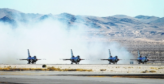 Thunderbird places prepare to take off at Nellis Air Force Base in Las Vegas Friday, Jan. 10, 2014. Their Air Force demonstration team had their season cut short last year because of budget constr ...