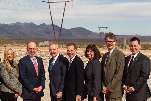 From left, Public Utilities Commission of Nevada Chairman Alaina Burtneshaw, LS Power Chairman Mike Segal, U.S. Sen. Harry Reid, D-Nev., NV Energy CEO Michael Yackira, Federal Energy Regulatory Co ...
