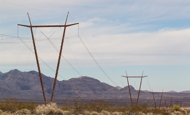 The One Nevada Transmission Line is seen after the dedication ceremony at the Harry Allen Generating Station, north of Las Vegas, on Thursday, Jan. 23, 2014. The 231-mile line, owned by Great Basi ...