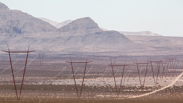 The One Nevada Transmission Line is seen after the dedication ceremony at the Harry Allen Generating Station, north of Las Vegas, on Thursday. The 231-mile line, owned by Great Basin Transmission  ...