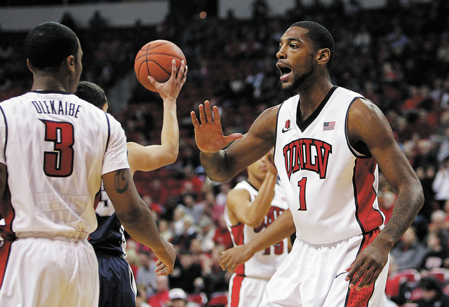 """UNLV forward Roscoe Smith (1) says the Rebels' morale has improved after a weekend off. """"I feel like we're motivated,"""" he says. """"We're headed in the right direction."""" (John Locher/La ..."""
