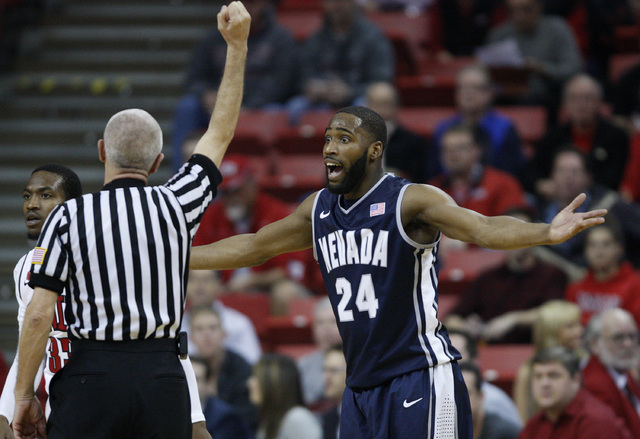 Deonte Burton of Reno reacts after he was called for a foul against UNLV at the Thomas & Mack Center in Las Vegas Wednesday, Jan. 8, 2014. (John Locher/Las Vegas Review-Journal)