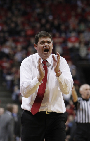 UNLV head coach Dave Rice yells to his players during their game against Reno at the Thomas & Mack Center in Las Vegas Wednesday, Jan. 8, 2014. (John Locher/Las Vegas Review-Journal)