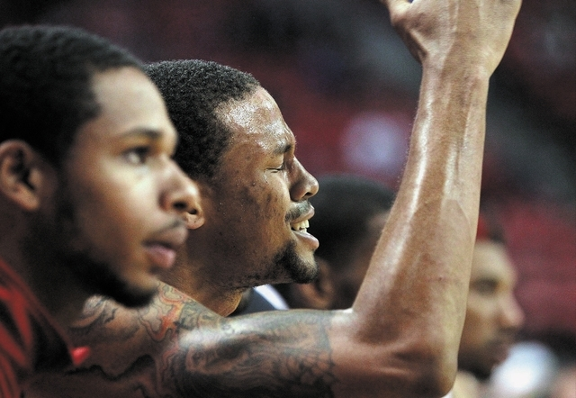 Bryce Dejean-Jones of UNLV expresses his frustration  as UNLV trails Reno near the end of the game at the Thomas & Mack Center in Las Vegas Wednesday, Jan. 8, 2014. (John Locher/Las Vegas Review-J ...