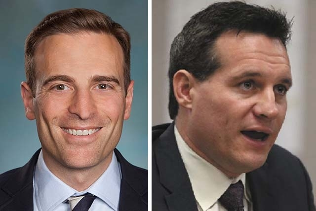 Republican Adam Laxalt, left, and Democrat Ross Miller are running for Nevada attorney general. Statements provided to the Las Vegas Review-Journal indicate the two disagree on whether gay marriag ...