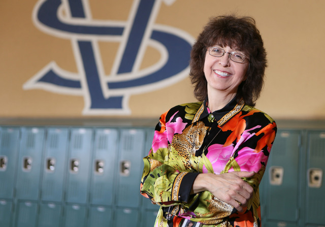 Science teacher Wende Lestelle stands near her classroom at Spring Valley High School Friday, Jan. 17, 2014, in Las Vegas. Lestelle, who has been a teacher with Clark County School District for 31 ...