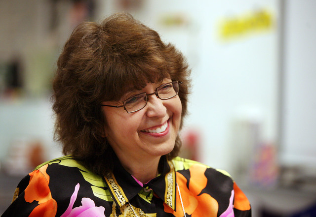 Science teacher Wende Lestelle laughs during a news interview at Spring Valley High School Friday, Jan. 17, 2014, in Las Vegas. Lestelle, who has been a teacher with Clark County School District f ...