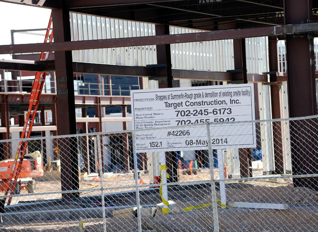 A general view of the Shops at Summerlin under construction is seen on Sunday, Dec. 29, 2013. (David Becker/Las Vegas Review-Journal)