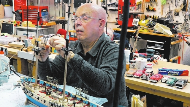 Bob Sylvester works on one of his model ships in this undated photo, taken at the Summerlin Model Builders Club's artisans' shop at Desert Vista Community Center, 10360 Sun City Blvd. The group  ...