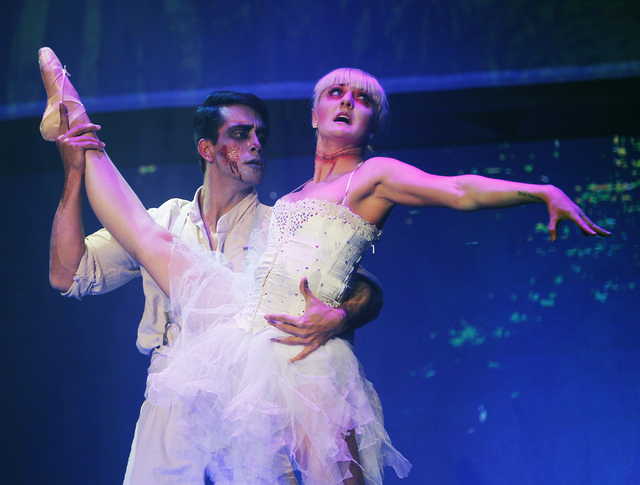 "Antenor Da Silva, left, and Amber Snow perform in ""Zombie Burlesque"" in the V Theater in the Miracle Mile Shops at Planet Hollywood. (Jason Bean/Las Vegas Review-Journal)"