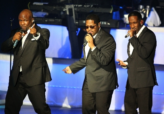 Boyz II Men perform March 1 in the opening night of their residency at the Terry Fator Theatre in The Mirage. (Chase Stevens/Las Vegas Review-Journal)