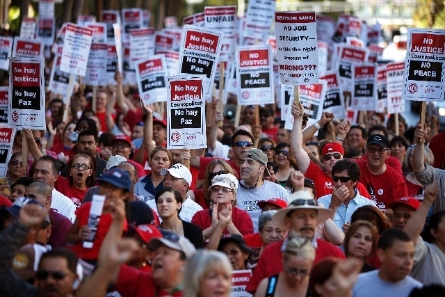 Culinary Union members and supporters are shown at a rally in front of the Cosmopolitan in Las Vegas in June 2013.  (John Locher/Las Vegas Review-Journal File)