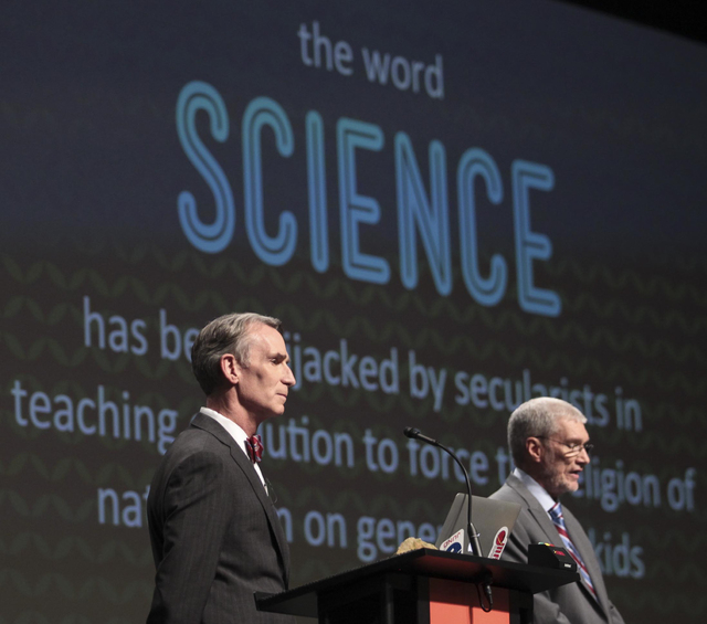 """Creation Museum head Ken Ham, right, speaks during a debate on evolution with TV's """"Science Guy"""" Bill Nye, at the Creation Museum Tuesday, Feb. 4, 2014, in Petersburg, Ky. Ham believes t ..."""