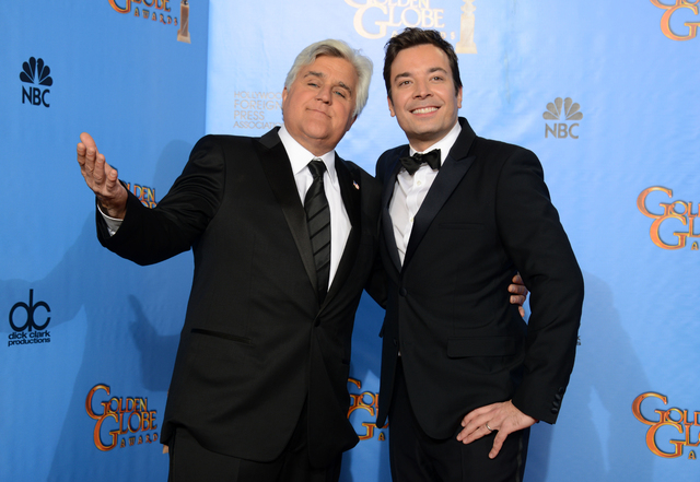 "Jay Leno, host of ""The Tonight Show with Jay Leno,"" left, and Jimmy Fallon, host of ""Late Night with Jimmy Fallon,"" were backstage  Jan. 13 at the 70th Annual Golden Globe Awards. On Thursday, Len ..."