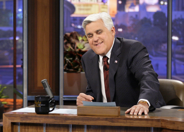 "After 22 years, Jay Leno will host his last ""The Tonight Show with Jay Leno"" on Thursday. Jimmy Fallon starts his NBC ""Tonight Show"" on Feb. 17 from New York. (AP Photo/NBC, Paul Drinkwater)"