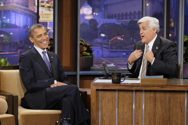 "President Barack Obama was on NBC's ""The Tonight Show with Jay Leno"" on Oct. 12, 2012. After 22 years, Leno will host his last show on Thursday. (AP Photo/NBC, Paul Drinkwater)"