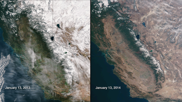 This image provided by NOAA compares January 13, 2013 and January 13, 2014 snow cover in Northern California and Nevada as seen by the Suomi NPP satellite. California, which is seeing its driest c ...