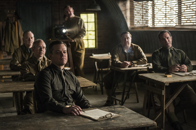 "This image released by Columbia Pictures shows, from left, Bill Murray, Bob Balaban, Matt Damon, Hugh Bonneville, John Goodman and Jean Dujardin in ""The Monuments Men."" (AP Photo/Columbi ..."