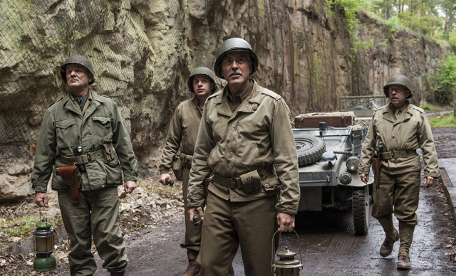"This image released by Columbia Pictures shows, from left,  Bill Murray, Dimitri Leonidas, George Clooney and Bob Balaban in ""The Monuments Men."" (AP Photo/Columbia Pictures, Claudette B ..."