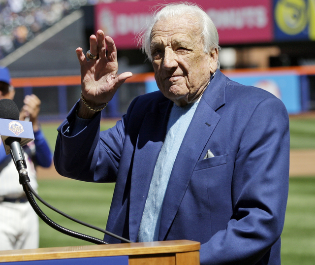 In this April 5, 2012 file photo, Hall of Famer Ralph Kiner waves to the crowd before announcing the New York Mets starting line-up before an opening day baseball game against the Atlanta Braves a ...