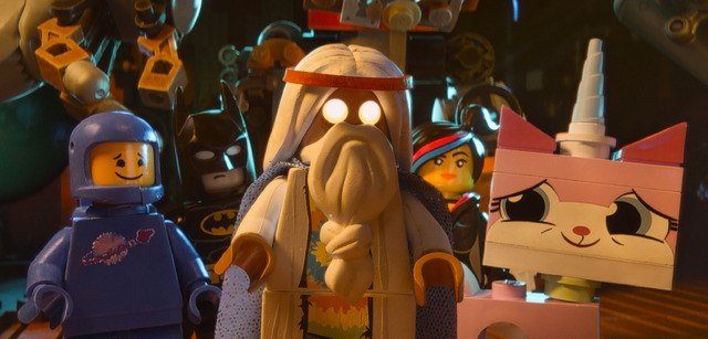 This image released by Warner Bros. Pictures shows characters, from left, Benny, voiced by Charlie Day, Batman, voiced by Will Arnett, Vitruvius, voiced by Morgan Freeman, Wyldstyle, voiced by Eli ...