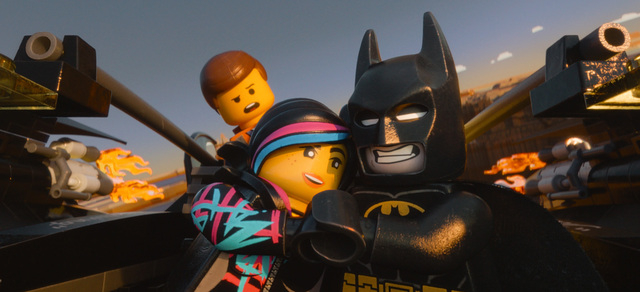 This image released by Warner Bros. Pictures shows characters, from left, Emmet, voiced by Chris Pratt, Wyldstyle, voiced by Elizabeth Banks and Batman, voiced by Will Arnett, in a scene from &quo ...