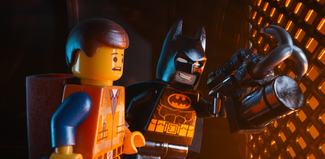 "This image released by Warner Bros. Pictures shows characters Emmet, voiced by Chris Pratt, left, and Batman, voiced by Will Arnett, in a scene from ""The Lego Movie."" (AP Photo/Warner Br ..."