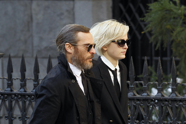Actor Joaquin Phoenix arrives at the Church of St. Ignatius Loyola for the private funeral of actor Philip Seymour Hoffman Friday, Feb. 7, 2014, in New York. Hoffman, 46, was found dead Sunday of  ...