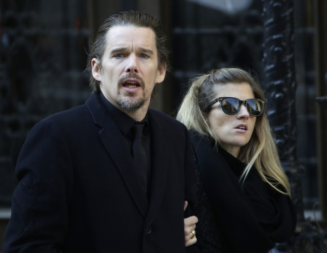 Ethan Hawke arrives for the funeral of actor Philip Seymour Hoffman at the Church of St. Ignatius Loyola, Friday, Feb. 7, 2014 in New York. Hoffman, 46, was found dead Sunday of an apparent heroin ...