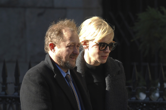 Actress Cate Blanchett and her husband Andrew Upton arrive at the the Church of St. Ignatius Loyola for the private funeral of actor Philip Seymour Hoffman Friday, Feb. 7, 2014, in New York. Hoffm ...