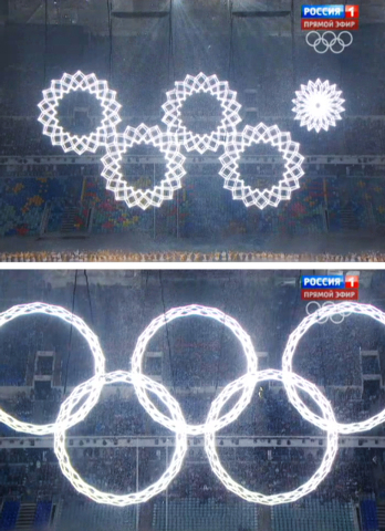 In a combo of frame grabs taken from Russian television, five snowflakes float together in Fisht Stadium during the opening ceremony of the 2014 Winter Olympics in Sochi, Russia, Friday, Feb. 7, 2 ...