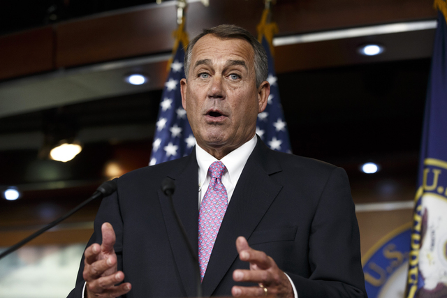 In this Feb. 6, 2014 file photo, House Speaker John Boehner of Ohio speaks during a news conference on Capitol Hill in Washington. In a concession to President Barack Obama and Democratic lawmaker ...