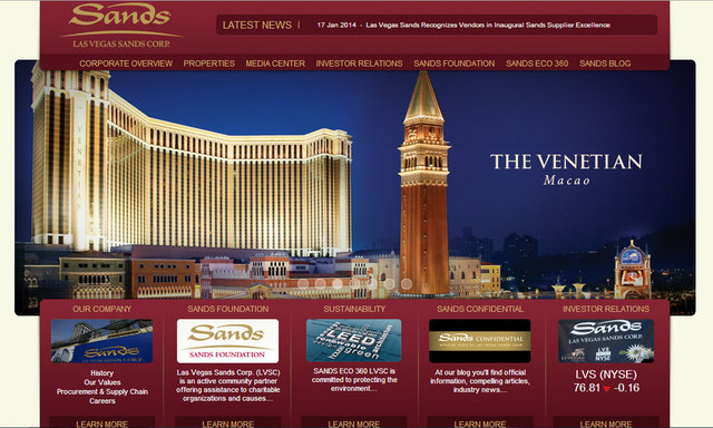 This Las Vegas Review Journal screen shot shows the Sands web site that was hacked on Monday, Feb. 10, 2014.