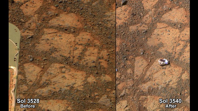 This composite image provided by NASA shows before and-after images taken by the Opportunity rover. At left is an image of a patch of ground taken on Dec. 26, 2013. At right is in image taken on J ...
