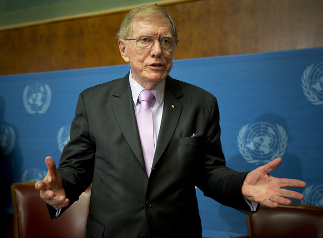 Retired Australian judge Michael Kirby, chairperson of the commission of Inquiry on Human Rights in the Democratic People's Republic of Korea, gestures after delivering the commission's report dur ...