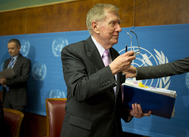 Retired Australian judge Michael Kirby, chairperson of the commission of Inquiry on Human Rights in the Democratic People's Republic of Korea, delivered the commission's report during a press conf ...