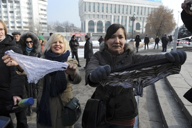Women protest Sunday against the ban of lace underwear in Almaty, Kazakhstan. A trade ban on synthetic underwear has Russia and her economic allies with their knickers in a twist. Post-Soviet cons ...