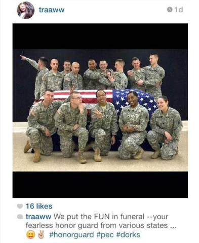 This photo posted to the instagram account belonging to Spc. Terry Harrison shows a dozen soldiers clowning around a casket draped in a flagat a National Guard training facility in Arkansas. The W ...