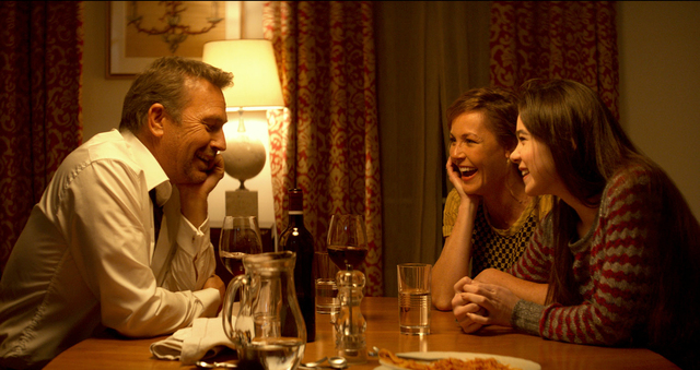"""This image released by Relativity Media shows Kevin Costner, from left, Connie Nielsen and Hailee Steinfeld in a scene from """"3 Days to Kill."""" (AP Photo/Relativity Media, Julian Torres)"""