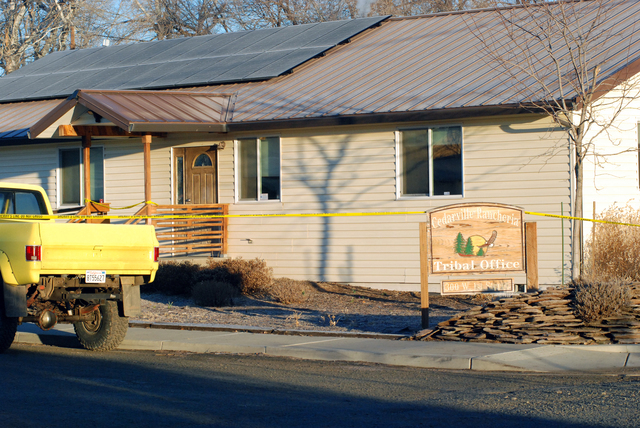 Crime scene tape surrounds the tribal headquarters of the Cedarville Rancheria Friday, Feb. 21, 2014 in Alturas, Calif., where police say an eviction hearing turned deadly as a woman who once serv ...