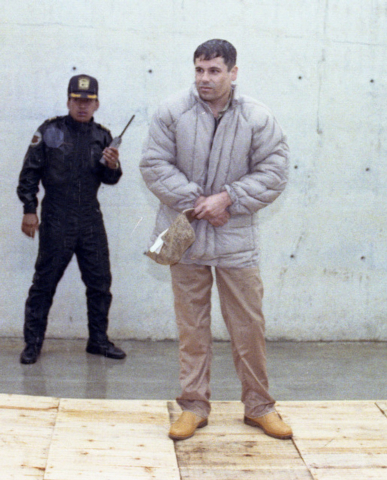 "Mexican drug lord Joaquin ""El Chapo"" Guzman is shownin 1993 at the Almoloya de Juarez, a high-security prison on the outskirts of Mexico City. A senior U.S. law enforcement official said Guzman, t ..."