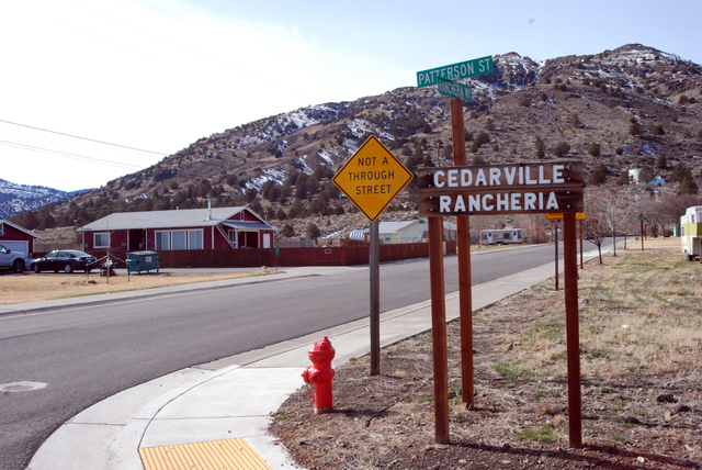 This Feb. 21, 2014 photo shows the entrance to the Cedarville Rancheria, in Cedarville, Calif. Cherie Lash Rhoades, a former chairwoman of the rancheria, lived here. She is held on suspicion of ho ...