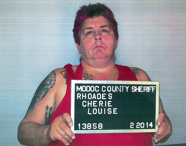 This Thursday, Feb. 20, 2014 photo released by Alturas Police Department shows Cherie Lash Rhoades. Rhoades, suspected of killing four people at the headquarters of an Indian tribe that was evicti ...